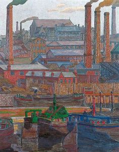The Athenaeum - Leeds Canal (Charles Ginner - ) Ripon Cathedral, Norwich Cathedral, Leeds Art Gallery, Museum Art Gallery, Architectural Features, Art Uk, Landscape Paintings, Landscapes, Vincent Van Gogh