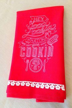 Hey, Good Lookin', Whatcha Got Cookin' Cotton Hand Towel -- handmade by janeshand.com!
