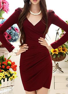 Elegant Wine Red V Neck Long Sleeve Wrap Dress