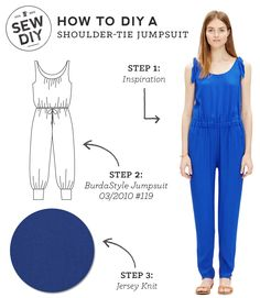 DIY Outfit – Shoulder-Tie Jumpsuit  Plus a free pattern to make your own shoulder ties from Sew DIY