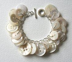 Button Charm Bracelet Bridal Pearly White