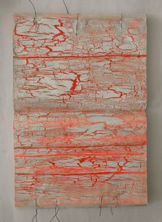 story with cracks. acrylics on book. Ines Seidel.