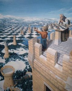 Giclee on Canvas 'Chess Master' art by artist Rob Gonsalves