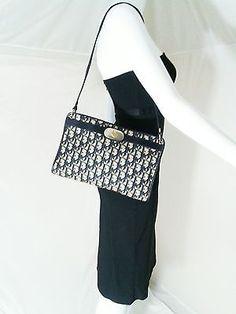 Authentic Vintage Christian Dior Shoulder Bag Trotter Canvas Navy Blue    Beige f4b68b4b18d1f
