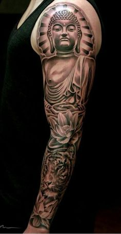 """See this """"Buddha Tiger Lotus"""" tatoo and other tattoo ideas on Tattoo Ideas Galle. - See this """"Buddha Tiger Lotus"""" tatoo and other tattoo ideas on Tattoo Ideas Gallery You are in th - Buddah Sleeve Tattoo, Zen Tattoo, Buddha Tattoos, Buddhism Tattoo, Cool Forearm Tattoos, Badass Tattoos, Tattoos For Guys, Japanese Sleeve Tattoos, Best Sleeve Tattoos"""