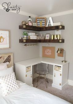 Add more storage to your small space with some DIY floating corner shelves! Love the desk and shelves.
