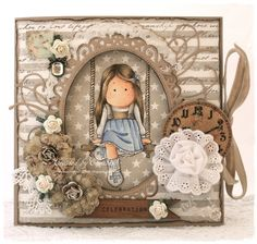 """Magnolia Card created by LLC DT Member Elizabeth Elton Hagen, using papers from Maja Design's """"Life by the Sea"""" collection and loads of gorgeous Prima embellishments."""