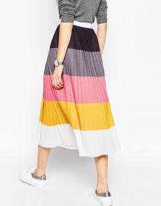 ASOS Pleated Midi Skirt in Colour Block