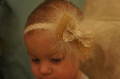 burlap baby head band weddding piece flower girl by EleganceAtHand, $9.00
