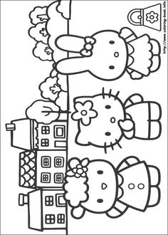 Printable Hello Kitty Coloring Pages For Kids. When we first heard Hello Kitty, the first one that occurred in our minds was a cute cat character that was very Free Coloring Sheets, Cute Coloring Pages, Cartoon Coloring Pages, Printable Coloring Pages, Coloring Pages For Kids, Coloring Books, Kids Coloring, Hello Kitty Drawing, Chat Hello Kitty