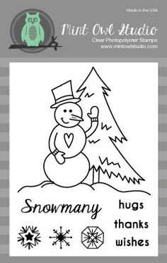 Snowmany Hugs Stamp Set from Mint Owl Studio -  snowman stamp, snow, thinking of you card, thank you card, snowmany hugs, birthday card, snowman