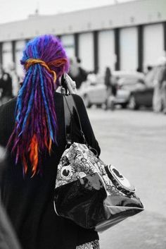 purple blue and orange dreads! awesome!