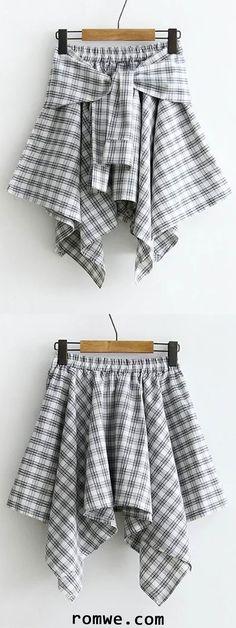 Tie Waist Grid Asymmetrical Skirt