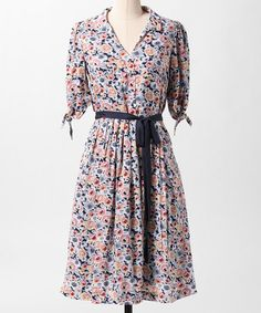 Take a look at this Navy & White Book Club Dress by Down East Basics on #zulily today! - very cute!