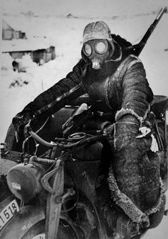 German motorcycle courier in Eastern Front