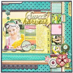 love the photos along the decorated strip on the side! layout by Amy Heller