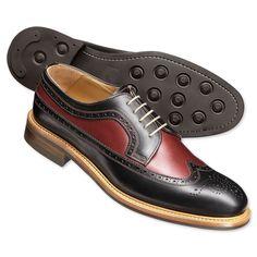 Black two-tone Draycott brogue shoes Mens Shoes Boots, Men's Shoes, Shoe Boots, Gentlemans Club, Two Tone Brogues, Gents Fashion, Fashion 2016, Fashion Men, Business Casual Shoes