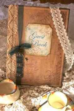 Wedding Guest Book - Vintage Shabby Chic Style, Custom   Luulla
