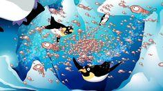 los pingüinos nadan bajo el hielo y comen krill.  Dibujo de Coyote Animaciones