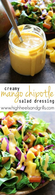 Creamy Mango Chipotle Salad Dressing [1 & ½ cups diced mango {about 1 large mango},  2 Tbsp. fresh lemon juice,  2 Tbsp. finely chopped onion,  1 tsp. kosher salt,  ½ tsp. paprika,  1 Tbsp. Chipotle Peppers in Adobo Sauce, finely chopped,  2 Tbsp. Apple cider vinegar ¼ cup water 2 Tbsp. oil in vitamix]