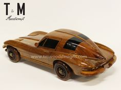 Chevrolet 63 Corvette Wood Car, Wooden Hand Carved, Mahogany Model - Wooden Car Gift For Display