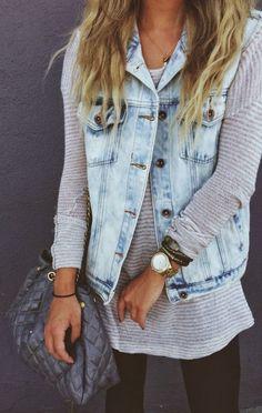 Totally love the vintage denim vest... Vintage Denim Vest on Fall Shoulders Sweater