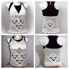 Handmade crochet SKULL tank top & SKULL halter top. Octane-Apparel.com