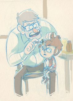 """""""Dipper you need to stop getting into fights with supernatural creatures and Robbie""""-gruncle Stan """"but if I don't fight them I don't feel like a man or they could get into town!""""-dipper (art not mine)"""