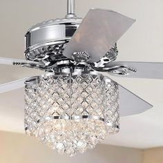 Shop Deidor Chrome Lighted Ceiling Fan w Crystal Chandelier 2 Color Blades (Optional Remote Control) - On Sale - Overstock - 22108345 - Pull Chain Ceiling Fan Chandelier, Ceiling Lights, Silver Chandelier, Crystal Chandeliers, Bedroom With Chandelier, Bedroom Ceiling Fan Light, Bathroom Chandelier, Bubble Chandelier, Ceiling Decor