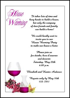 lots of housewarming party invitation cards like this wine and grapes at InvitationsByU.com, number 7664IBU-HI with lots of discounts, freebies, and other special promos