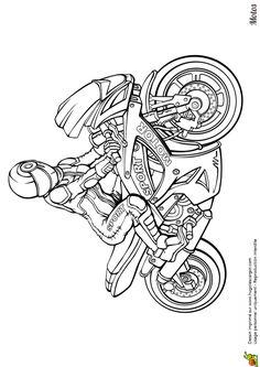 Dessin d'une moto de course personnalisée avec la jolie pilote à colorier