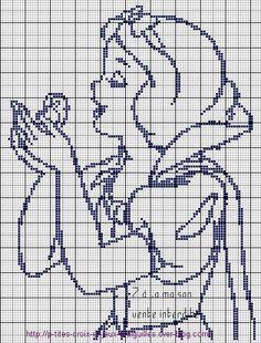 Snow White x-stitch Cross Stitch Kits, Cross Stitch Charts, Cross Stitch Designs, Cross Stitch Patterns, Crochet Cross, Crochet Chart, Filet Crochet, Cross Stitching, Cross Stitch Embroidery