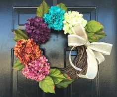 Wreath spring. spring door wreath. hydrangea wreath, spring wreath, spring decor, wreath for door. by YourHandmadeWreath on Etsy https://www.etsy.com/listing/217979505/wreath-spring-spring-door-wreath