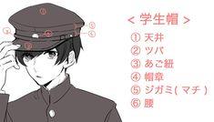 この講座では、男子高校生の制服の描き方や制服と合わせるとキャラクター性を演出できる小物について紹介しています。 Reference Images, Art Reference Poses, Drawing Reference, Drawing Hats, Drawing Clothes, Manga Art, Anime Manga, Character Drawing, Character Design