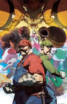 #Mario series as an anime via Reddit user cheeseuh