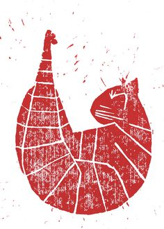 redcat linocut by nemessis