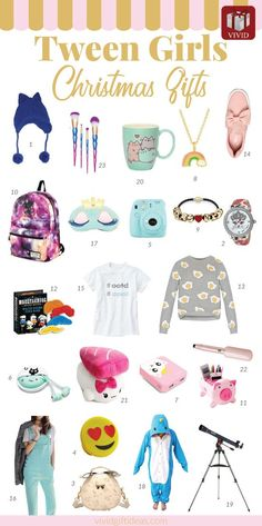 Christmas Gifts For Tweens. Suitable for daughter, granddaughter, sister, friends. Includes tween fashion, tech gifts, middle school supplies, makeup and tween girls bedroom decor.