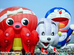 Giant character balloons at Saga International Balloon Fiesta