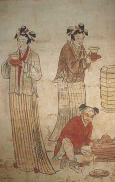 Preparation of tea, mural from a Liao dynasty (907–1125). 遼國