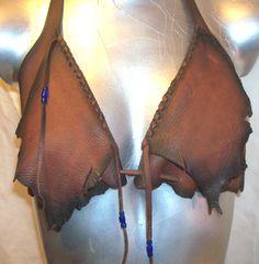 ♠  Leather bra. #Leather #DIY