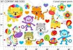Rainbow Animals Clipart Clip Art and Digital by pixelpaperprints