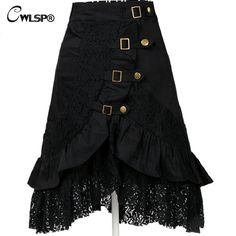 d634c692a8 CWLSP Cool Gothic Black Skirts Women Vintage steampunk skirt Femme  Irregular Hollow Out Lace Skirt saia mujer Plus Size QZ1613