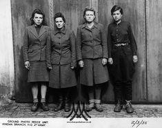 Marta Löbelt, Getrud Rheinhold, Irene Haschke and Anneliese Kohlmann shortly after their arrest. Dated: 02 May 1945 Bergen Belsen