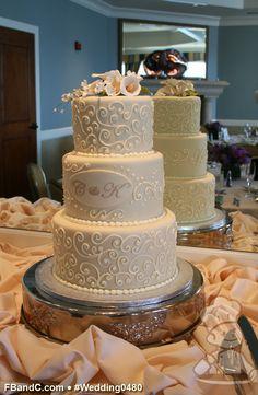 "Design W 0480 | Fondant Wedding Cake | 10""+ 8""+ 6"" | Serves 75 | Custom printed fondant monogram and sugar flower topper | Custom Quote"