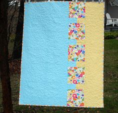 Modern Quilt Relish: Baby Bites Free Modern Baby Quilt Pattern - great for when you don't have enough of 1 fabric to make a backing!