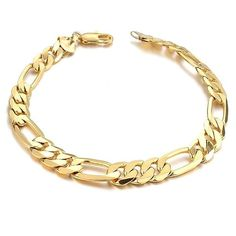 "EnM Jewelry Stainless Steel Men's Figaro Link Bracelet 7mm Wide 8.5"" Long, Yellow Color"