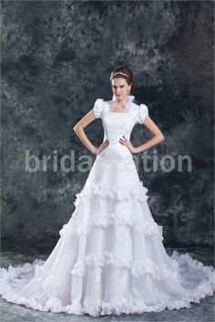 Church A-Line Square Court Train Satin Zipper-back Wedding Dresses