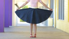 Circle skirts are fun to wear no matter what age you are! They twirl, they look adorable, and....they're easy to make! I always say that. But trust me---I'll...