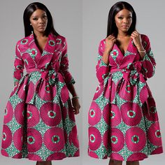 """Sexy yet conservative, our African print ankara wrap dress will make you feel ultra feminine this season. ---- FEATURES ---- * Shawl collar wrap midi dress in a bold African fabric * Full skirt with pockets * Tie sash belt * Long sleeve * 100% Cotton, no stretch * Model is 5'8"""" tall and"""