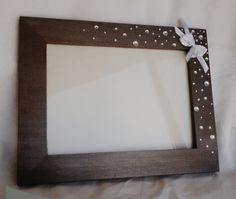 FREE SHIPPING Photo Frame, Unique Wooden Photo Frame, metallic gray photo frame, handmade bow, silver gemstones, Home Decor